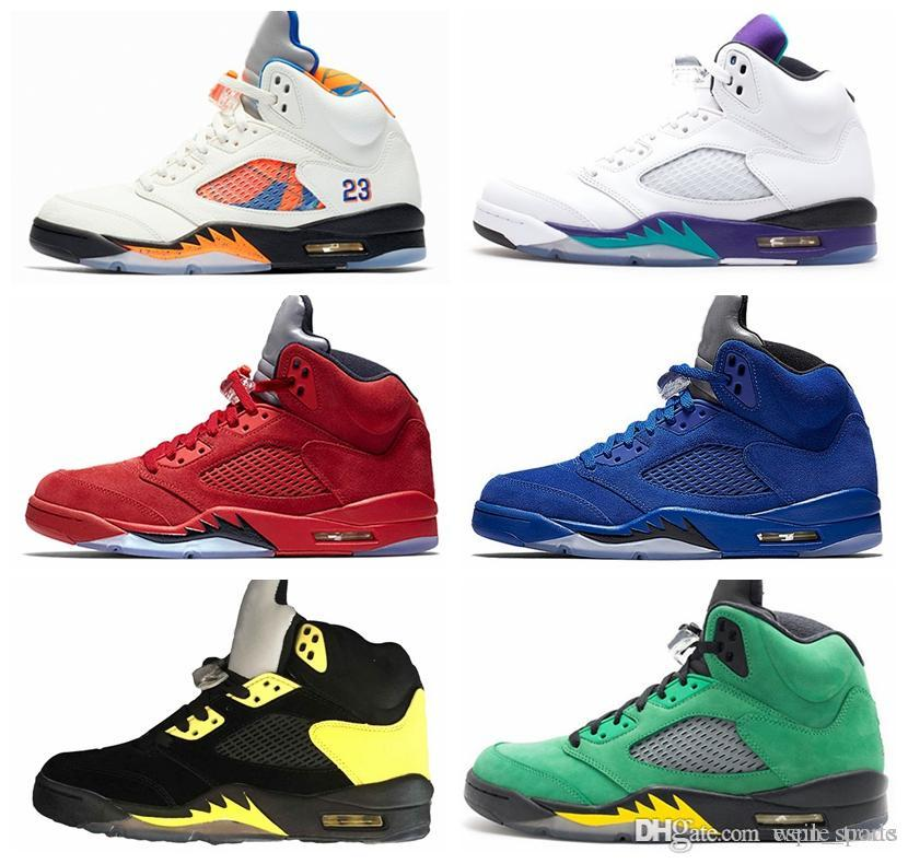huge selection of 813a4 be141 2018 5 Men basketball shoes Fresh Prince white cement red blue suede 5s  Oreo Mens sneakers air Oreo Retos Jumpman Designer off Chausseures