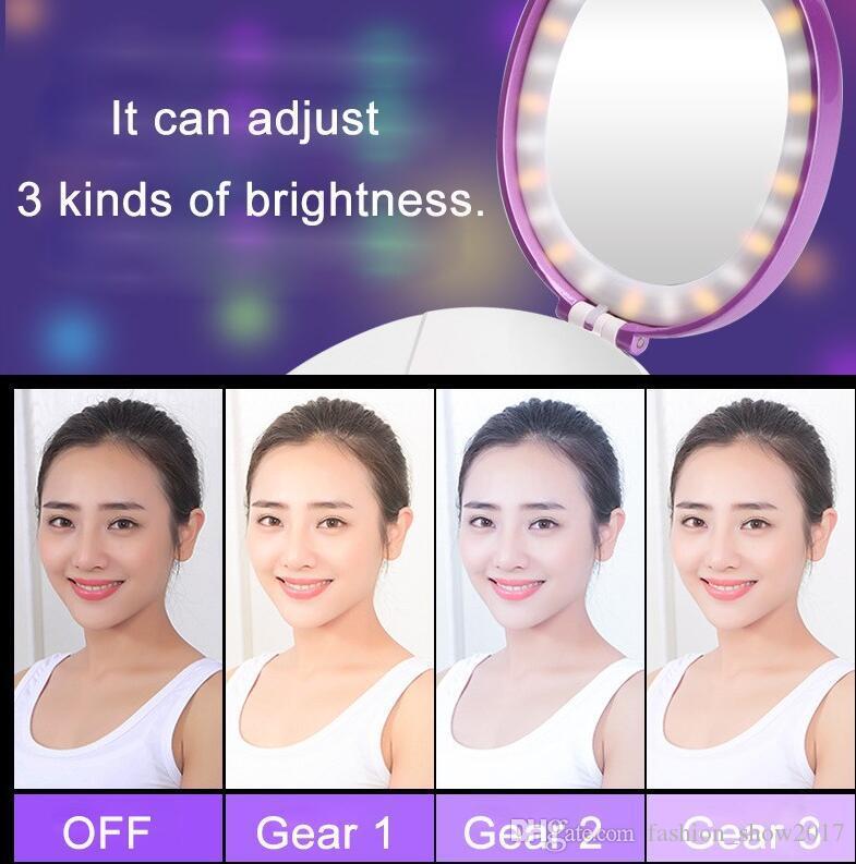 Multi Funcional Maquillaje Portátil Luces Cosméticas Espejo Nano Niebla Pulverizador Facial Corporal Vaporizador Hidratante Cara Banco de potencia