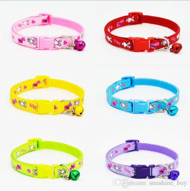 2018 High Quality Safety Nylon Dog Puppy Cat Collar Breakaway Adjustable Cats Collars with charm Bell and Rabbit width 1.0cm