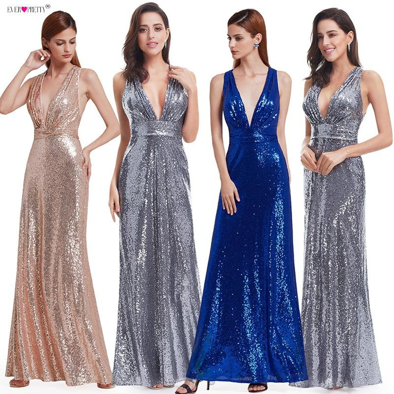 2019 Evening Dress Sparkle Ever Pretty Long Deep V Neck 2018 Natural Waist  EP07109GY Mesh Cross Back Shiny Sequin Evening Dress Gowns C18111601 From  ... 42fb9c350