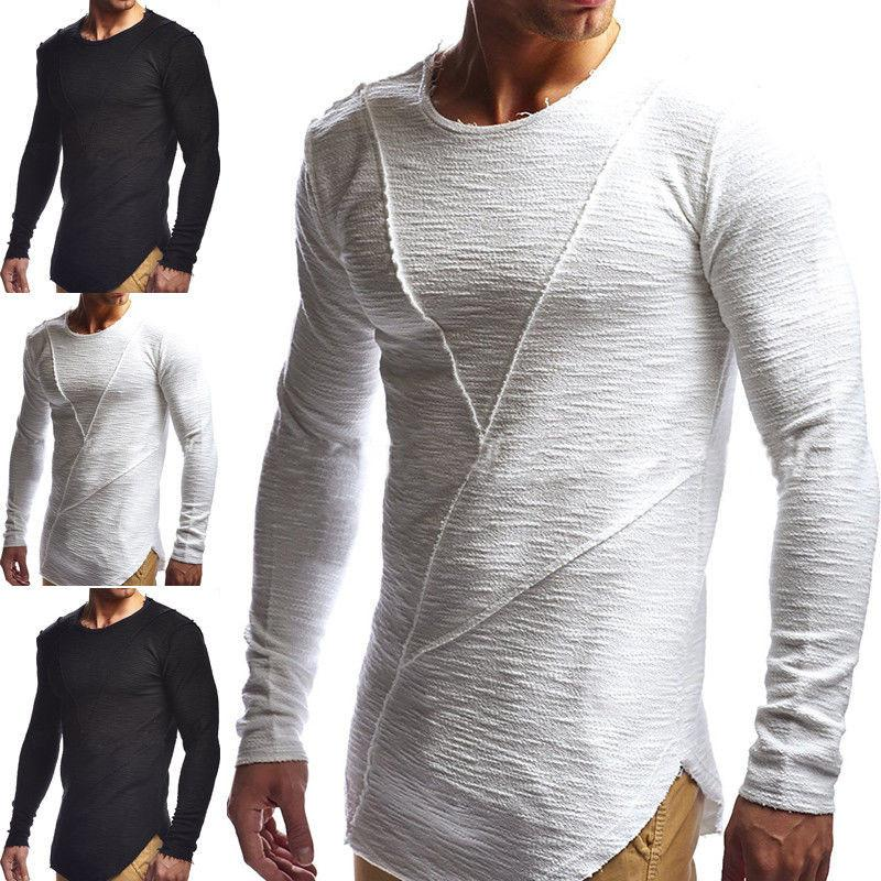Ripped Men S Slim Fit Muscle O Neck Tee Tops Long Sleeve Muscle Tee T Shirt  Casual Tops Blouse Latest T Shirt Designs Coolest Shirts From Honey111 3f55941c3f94