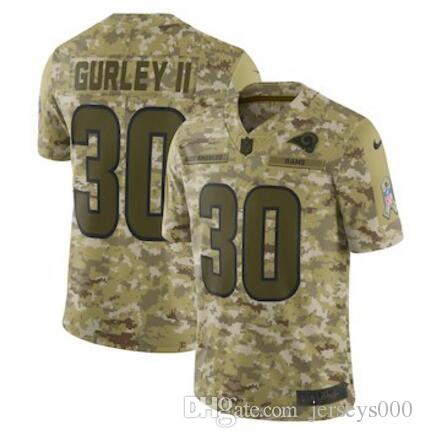 b2b86c934 2018 30 Todd Gurley II Jersey Jared Goff Aaron Donald Los Angeles Rams  Green Anthracite Olive Camo Salute To Service American Football Jerseys  From ...