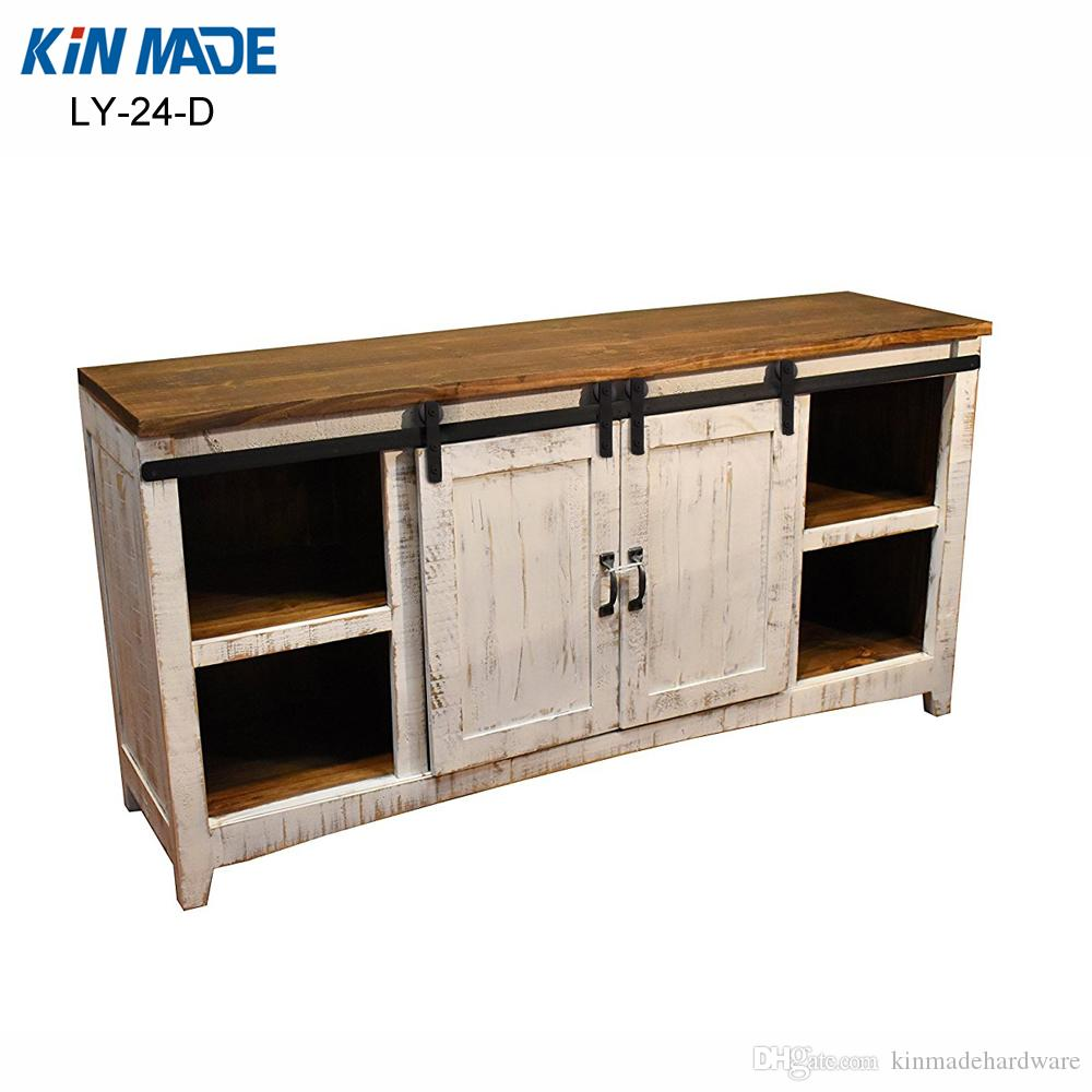 Kinmade Mini Cabinet Double Barn Door Hardware Flat Track Wooden Sliding  Door System Kit Mini Cabinet Barn Door Hardware Wooden Sliding Door System  Kit ...