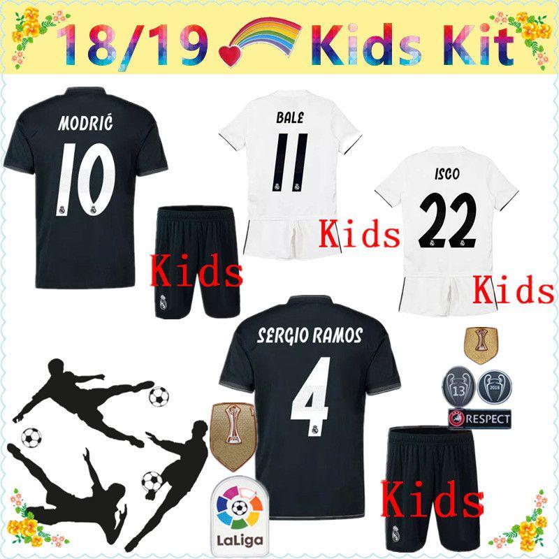 a5886a9e4e0 Top Quality 2018 2019 Real Madrid Kids Kit 10 MODRIC MARCELO Soccer ...