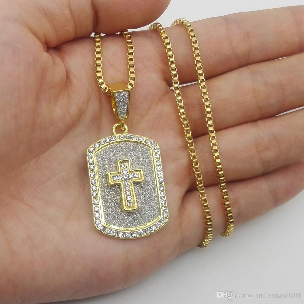 color oro bling bling un centinaio di cane ciondolo collana tag jesus ghiacciato fuori 60cm lunghe collane gioielli hip hop di moda