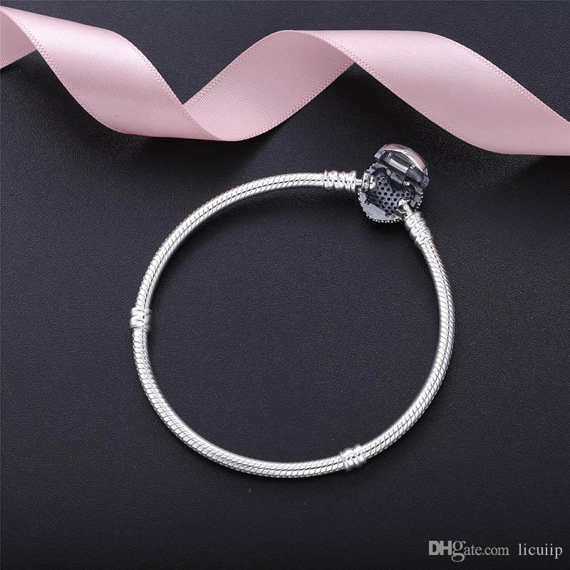 Authentic 925 Sterling Silver Pulseira Fit Pandora Encantos Coração Pave CZ Bangle com caixa de Contas Europeus de Prata Real Jóias Para As Mulheres