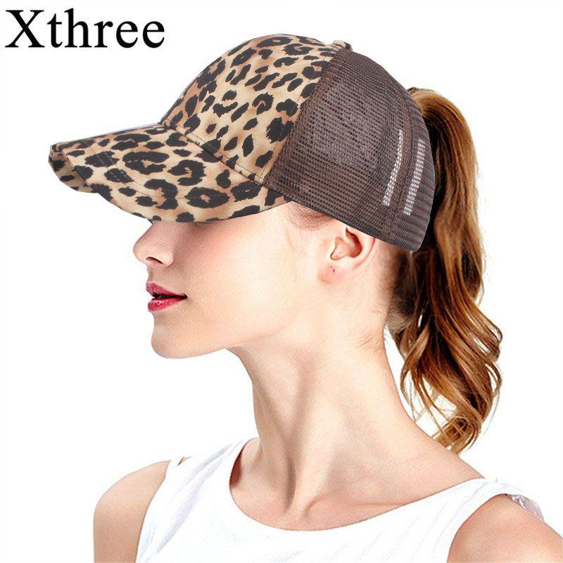 Xthree Leopard Print Summer Ponytail Baseball Cap Mesh Hats For Women Messy  Bun Casual Hip Hop Snap Back Gorras Hombre Hats Flexfit Hats For Men From  ... a89b67b7a85