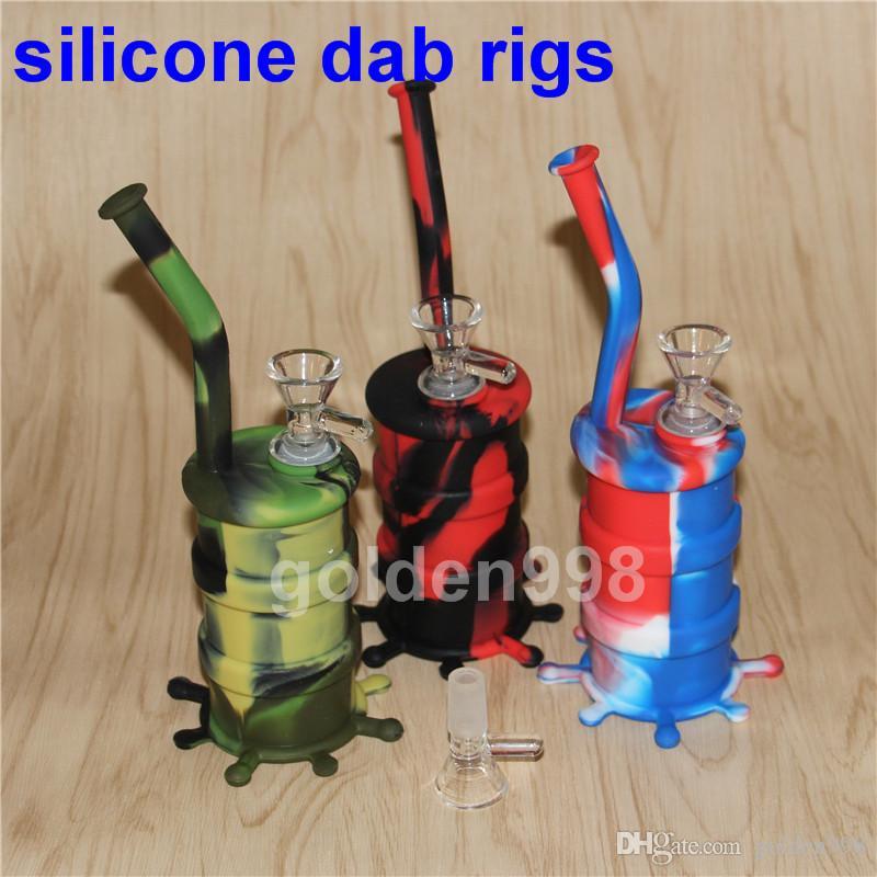 Portable Shisha Silikon Dab Rigs Glasbong Silikon Wasserpfeifen Shisha Shisha unzerbrechliche Shisha, Silikon Nektar Kollektor Ölbohrinsel