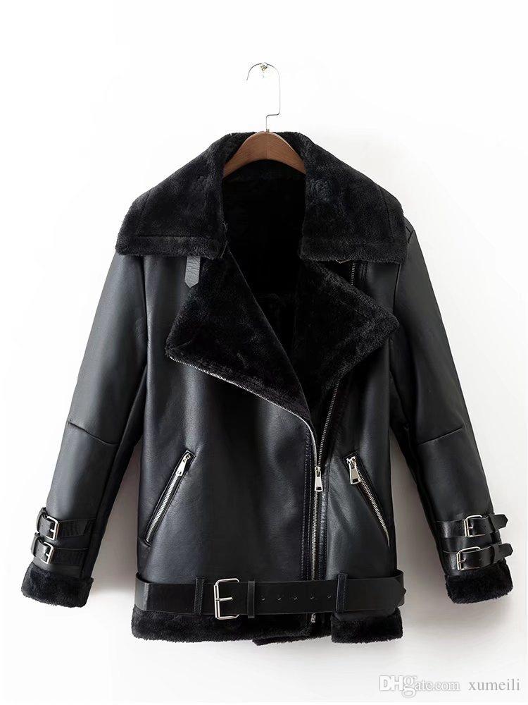 Inverno novas roupas femininas e casacos de pele za17ra Europa e nos Estados Unidos e o mesmo tipo de solto meio longo casaco locomotiva