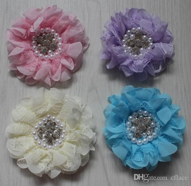 9cm pearl center chiffon lace fabric flowers for girls hair accessories,chiffon flowers for babies headbands,kids hair clip flowers