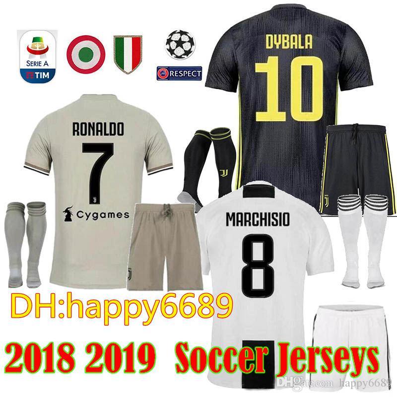 992c09e52 2019 18 19 Juv Soccer Jersey Kit + Socks 2018 2019 Juve 7 RONALDO 9 HIGUAIN  10 DYBALA 11 D. Costa 17 MANDZUKIC BUFFON Third Football Shirt From  Happy6689
