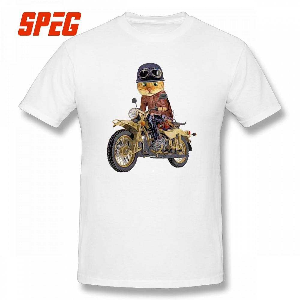 fee0d4f94a50c Cat Riding Motorcycle Tees Purified Cotton T Shirts Comfortable T Shirts  Short Sleeved Male Printed O - Neck Plus Size Online with  28.54 Piece on  ...