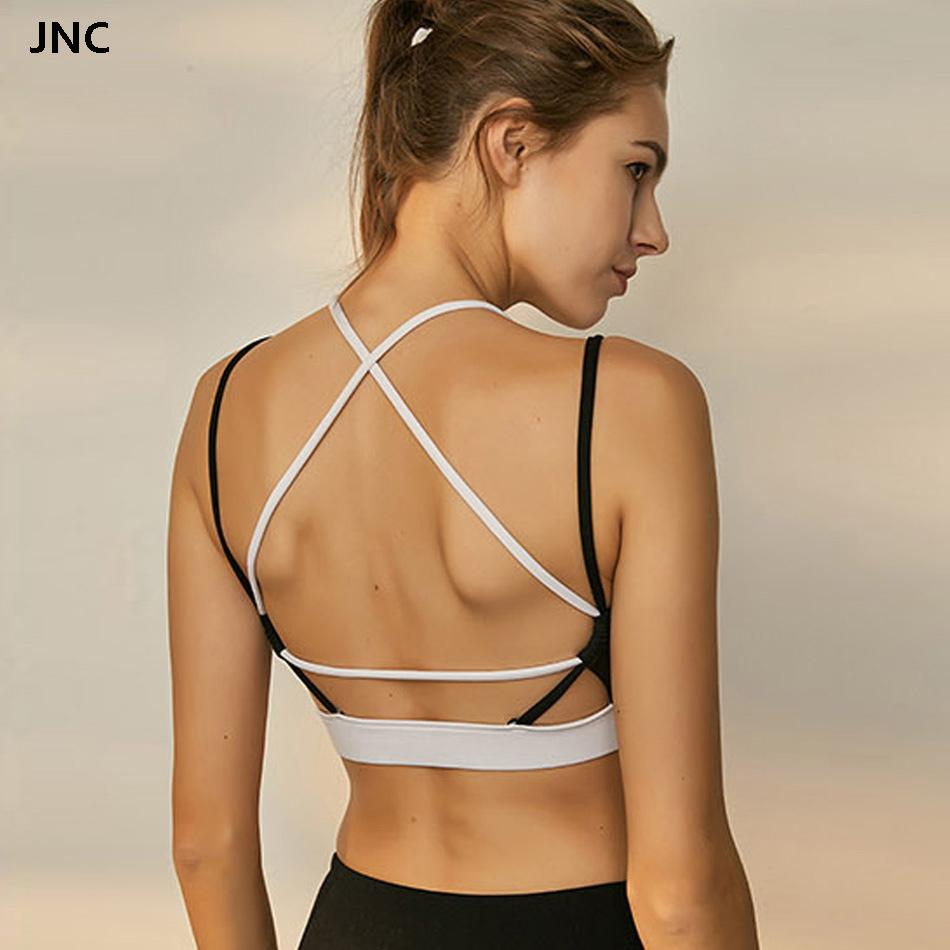dfdc7fa6cd113 2019 Women S Strappy Sports Bra Open Back Sexy Gym Bra Workout Padded Yoga  Top Cross Back Gym Crop Top Medium Impact Fitness From Bingquanwat