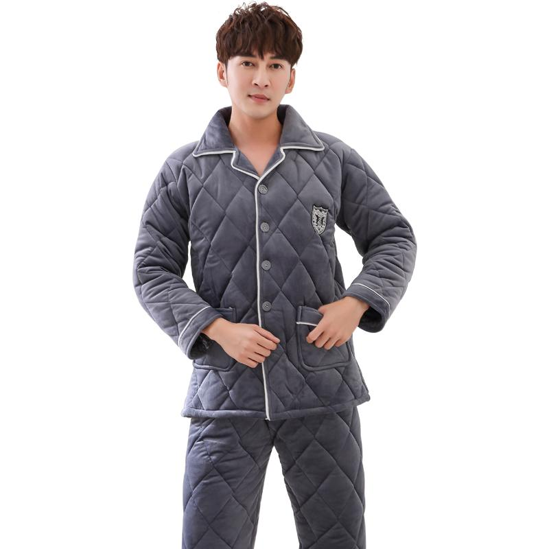 8059df8779 2019 High Quality Three Winter Thick Quilted Pajamas Men S Cotton Flannel  Long Sleeved Jacket Winter Home Service Men Pyjamas M 3XL From Hoeasy