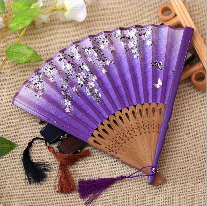 Chinese Style Flower Printing Hand Folding Fan - Hollow Carved Hand Fan Wedding Party Favor Supplies Decor - Art Craft Gift