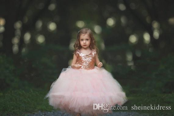 2018 Rose Gold Sequins Blush Jewel Neck Ball Gown Flower Girls' Dresses Cap Sleeve Puffy Little Girls Formal Wedding Party Communion Dress