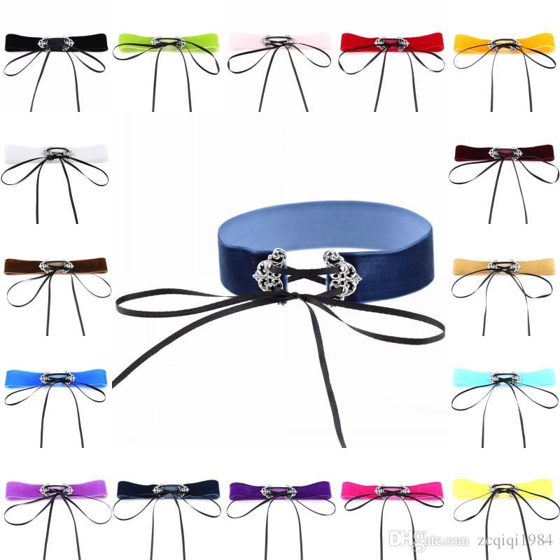El más nuevo Collar de Gargantilla de Cuero Atractivo Chic Gótico Chocker Vintage Collar de Declaración de Hueco de Plata Para Las Mujeres Ropa de Fiesta de Decoración