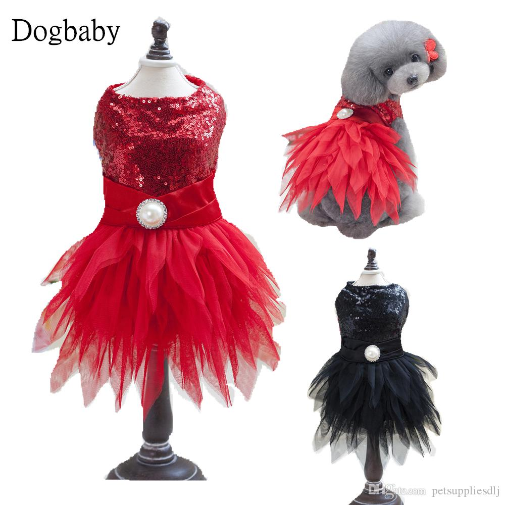 E16 Cute Summer Pet Dog Princess Dress Puppy dog Cats Wedding Party Lace Performing dresses Red Black Skirt Clothes Yorkie
