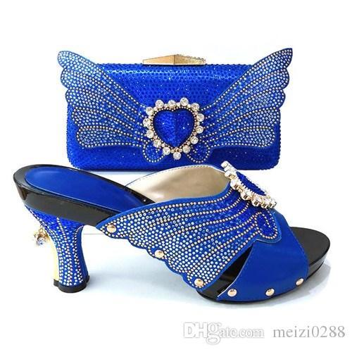 c41190507c Acquista Tacchi Alti Da Donna Blu Royal, Scarpe Dal Design Italiano Con  Fantasie Uniche E Borse Piccole Abbinate..Punta 9cm..A G8 26 A $97.49 Dal  Meizi0288 ...