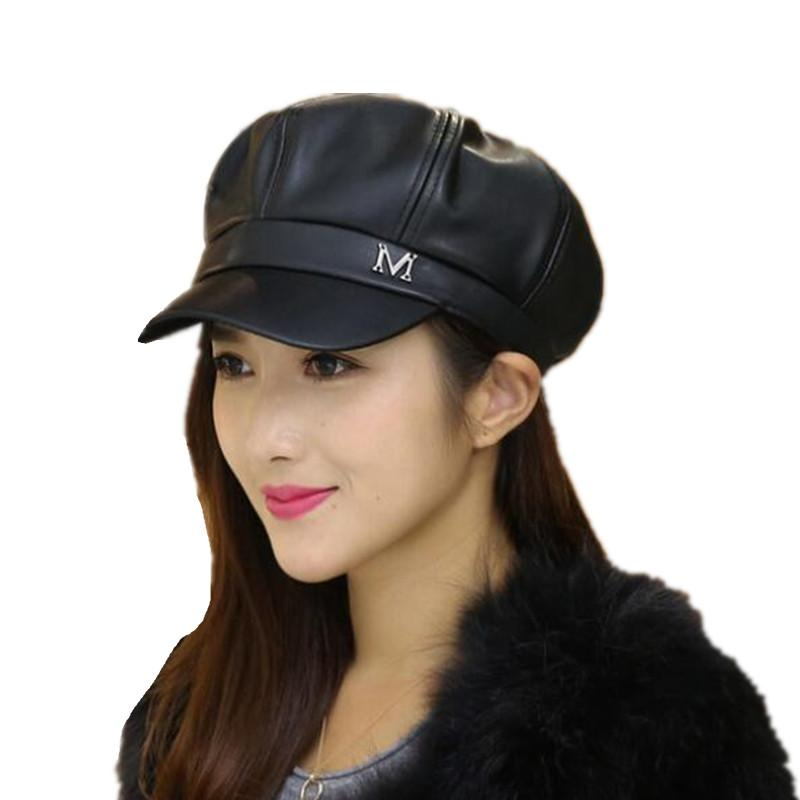 c96232e1ab9 New Pu Leather Beret Hat Winter Hats For Women Men Painter Newsboy ...