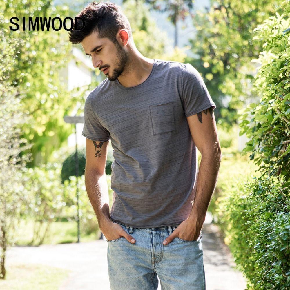 cb10e480f25 SIMWOOD 2018 Summer New Striped T Shirt Men Slim Fit Raw Roll Neckline  Fashion Top Casual Plus Size Tshirt Tees 180239Y1882203 Crazy Tee Shirts  Novelty T ...