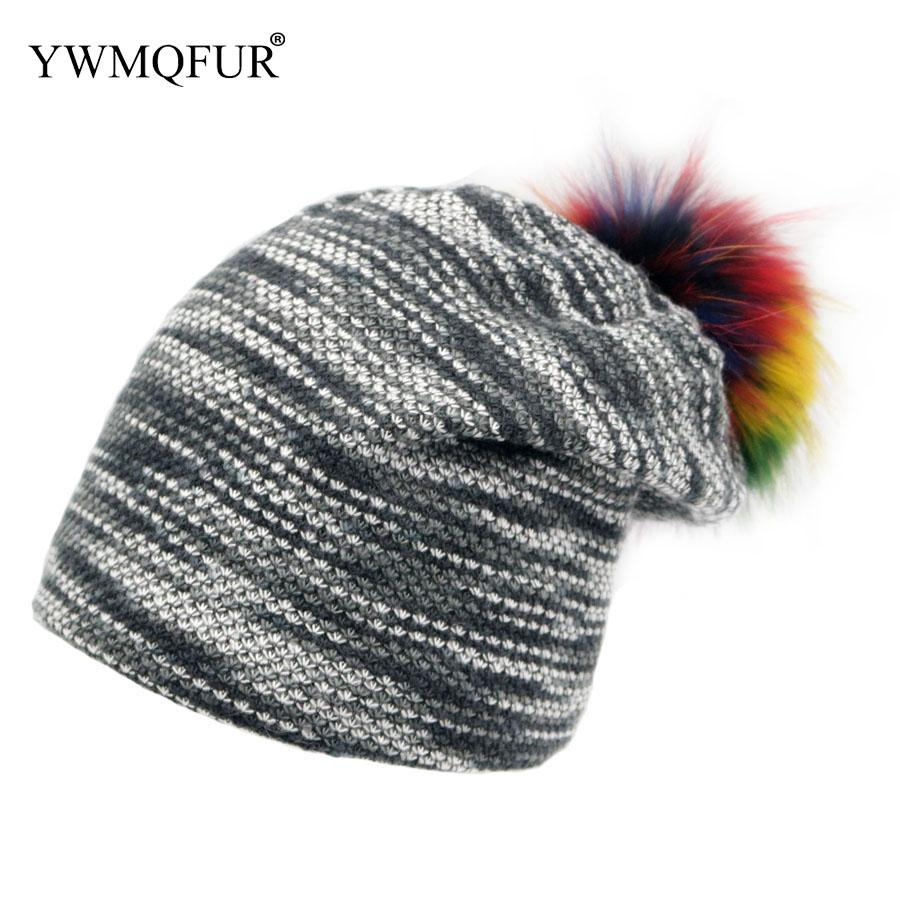 4d452c1c6 Winter Beanies Hats For Women Men Casual Unisex Hat With Raccoon Fur Ball  And Warm Lining Female Knitted Caps 2018 New Arrival