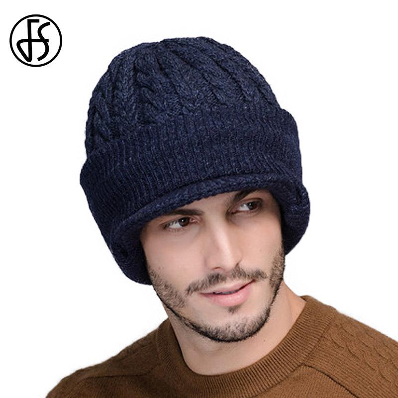 38ea951e64d FS Neck Warmer Winter Hat Wool Knit Cap For Men Fleece Knitted Beanie Hats  Men Skullies Beanies Casquette D18110601 Baby Hats Fitted Hats From  Shen8409