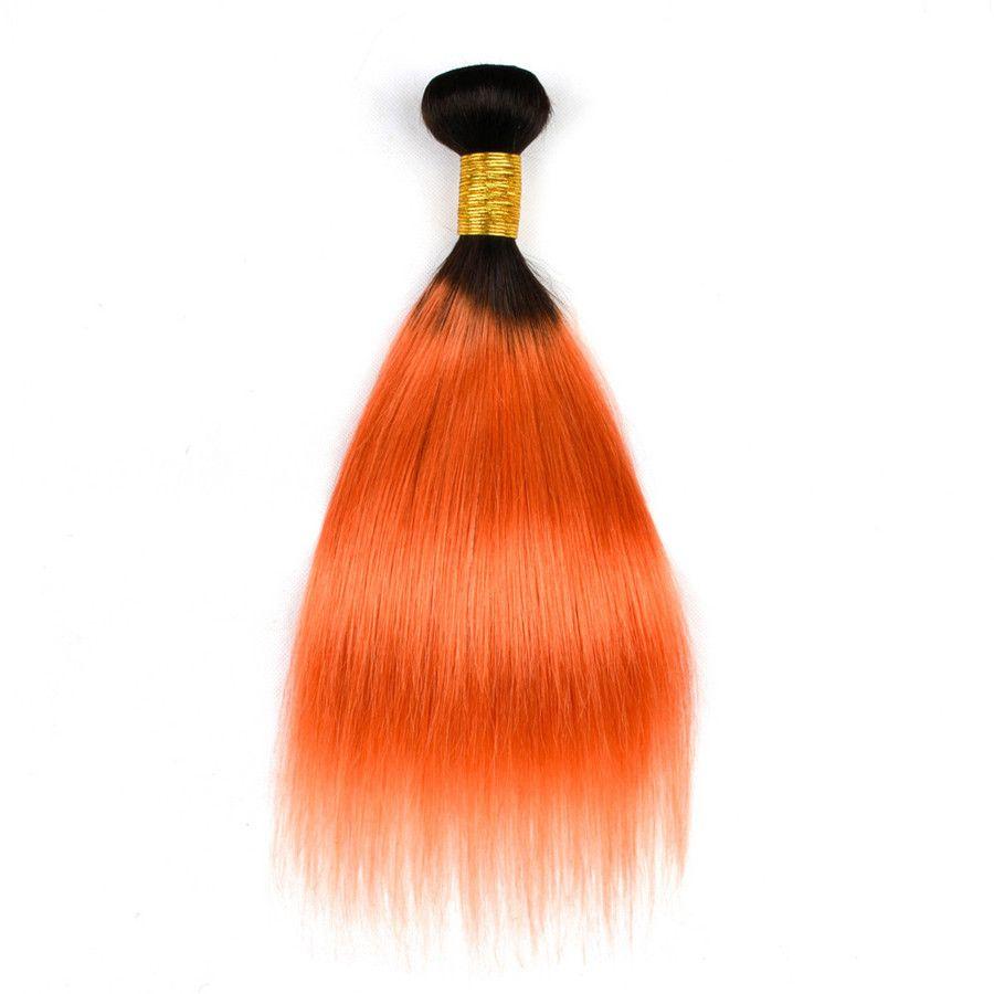 Two Tone 1b Orange Straight Hair With Lace Closure Dark Root Straight Orange Color Lace Closure With Bundlles 1b 350 Virgin Brazilian Hair