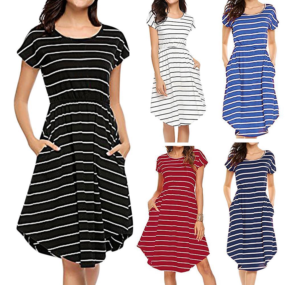 6d7ca116bbe Women Dress Summer Mini Dress Womens Casual Short Sleeve Dresses Elastic  Waist Striped With Pockets Vestido 2018 Evening Party Dresses Cocktail  Party Dress ...