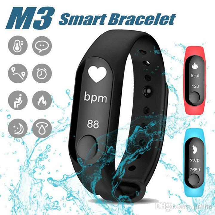 9f3459a8c99 Mais novo M3 Inteligente Pulseira Monitor de Freqüência Cardíaca rastreador  de Fitness Relógio Inteligente À Prova D  Água Pulseira Pedômetro Chamada  ...