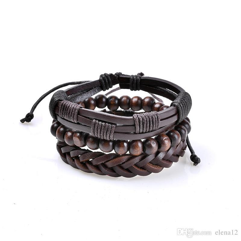 купить оптом Pu кожаный браслет браслеты мужские кожаные браслеты