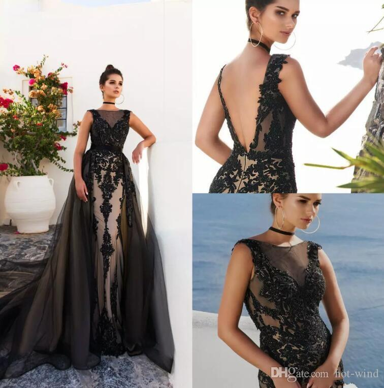 Elegant Black Mermaid Long Prom Dresses With Overskirts With