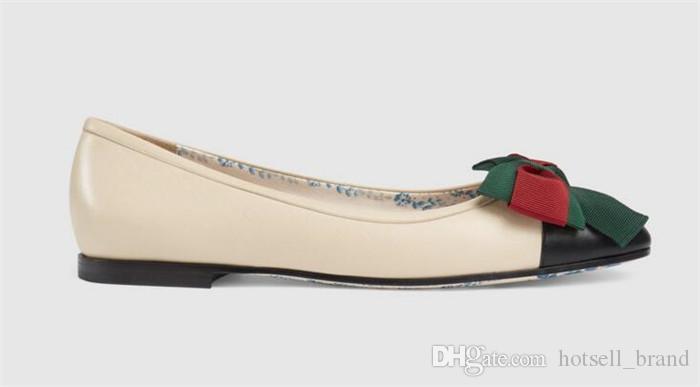 selezione migliore f9713 09370 Scarpe basse donnaGG pelle bassa bocca punta tonda scarpe donna 2018 all  match bowtie comoda guida scarpe singole fondo morbido