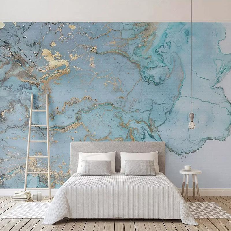 Custom Photo Wallpapers 3d Stereo Blue Texture Marble Wall Paper