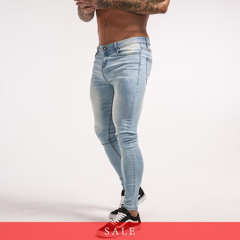 43834c76bfb6b Compre Gingtto Skinny Jeans Para Hombres Pantalones Vaqueros Elásticos Azul  Claro Ripped Denim Para Hombres Pantalones Ajustados Slim Fit Marca Hip Hop  Zm32 ...