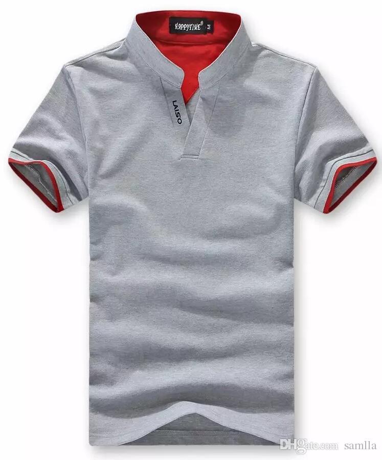 2019 Mens Cotton Multi Color Polo Shirt Short Sleeve Plain T Shirts