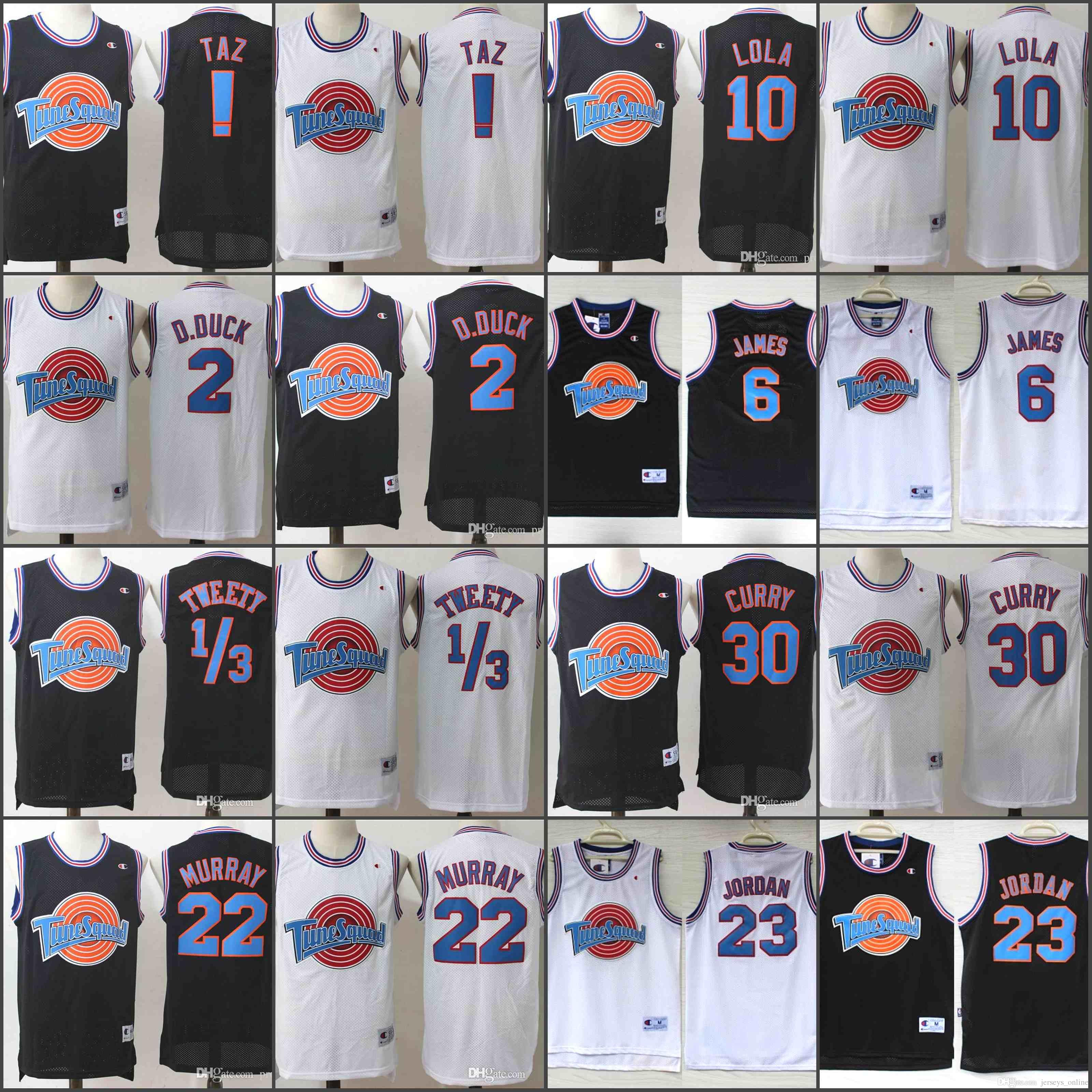 Acquista Versione Da Uomo Tune Squad Stitched Jersey 1 TAZ 1 Bugs 1 3  Tweety 2 D.DUCK 10 Lola 22 Murray 23 Basketball Jerseys A  20.31 Dal  Jerseys online ... 7f872268bbae