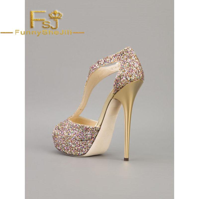 04ff9fd951b3 Sparkly Wedding Sandals T Strap Glitter Platform Stiletto Heels Attractive  Fashion Generous Incomparable Black Friday FSJ Sexy Flat Shoes Biker Boots  From ...
