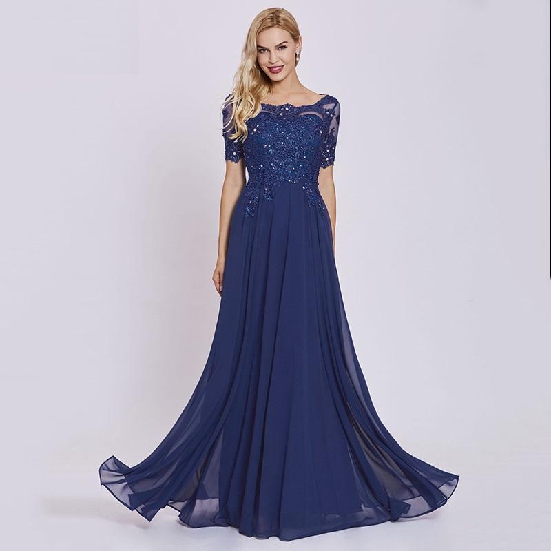 16ac7e80a Vestidos De Noite Baratos Formal Escuro Real Azul Longo Vestido De Noite  Barato Mangas Curtas Apliques Uma Linha Festa Formal Vestido De Renda  Vestidos De ...