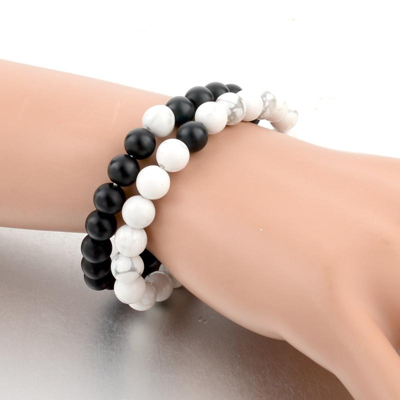 Charms Natural Stone Couple Distance Bracelet Yoga Meditation Beads Braslet Set For Men Women Friend Jewelry Gift Pulseira