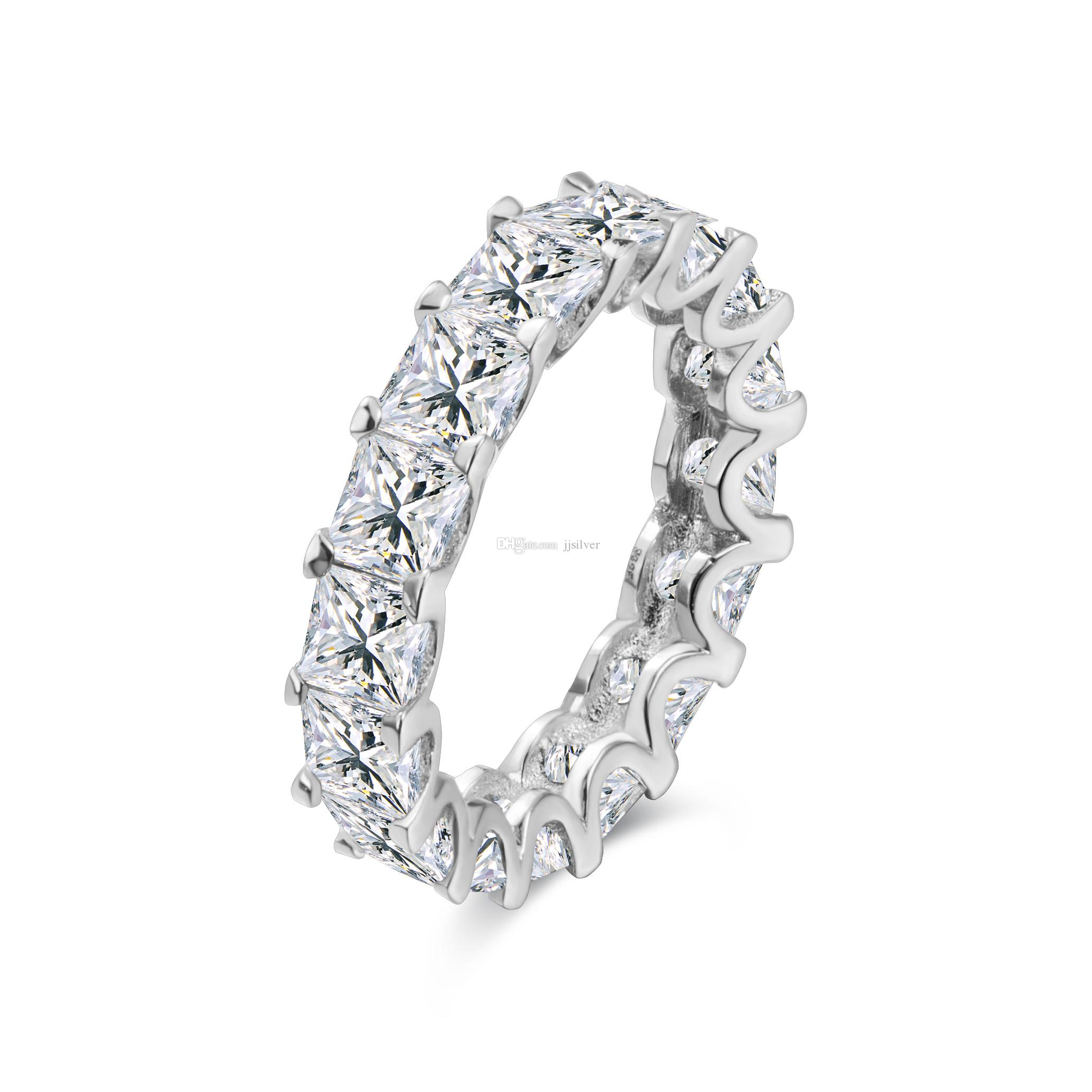 Fashion jewelry 100% New Brand Design 18K White Gold GF Swarovski Crystal Wedding Band Ring Sz 6-8 Gift the whole row with color cz