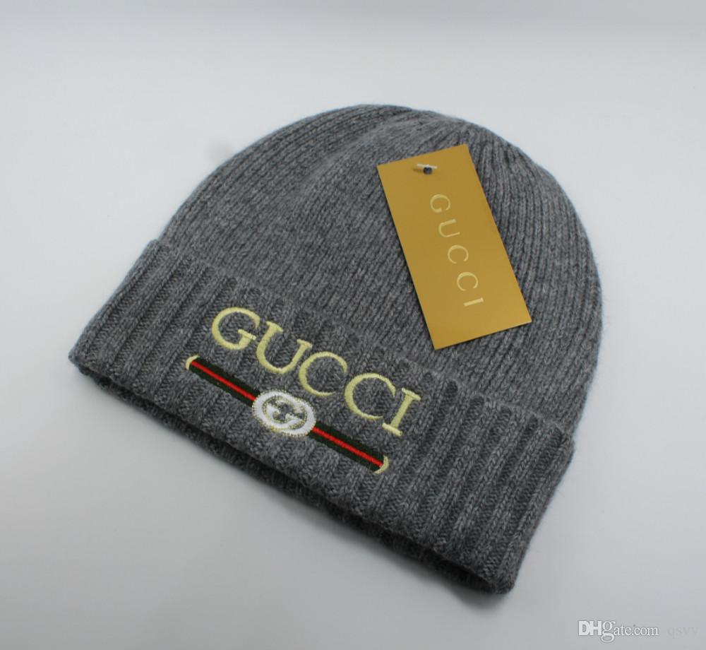 Fashionable Men And Women S Soft Knitted Wool Hat Lady S Autumn And Winter Wool  Hat Fashion Embroidery LOGO Newborn Hats Knit Beanie From Qsvv 9cf48be058b