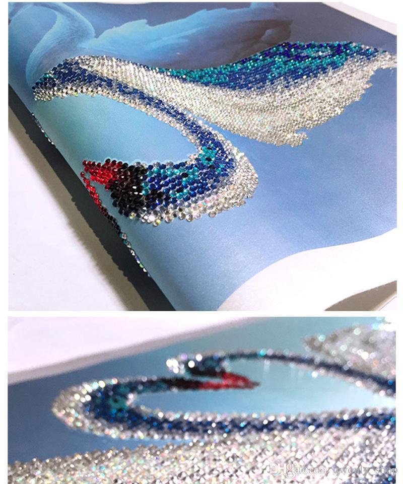5D Diamond Embroidery Painting Diy Crystal Swan Mosaic Rhinestone Cross Stitch Wall Painting Rhinestones Picture Wedding Decoration