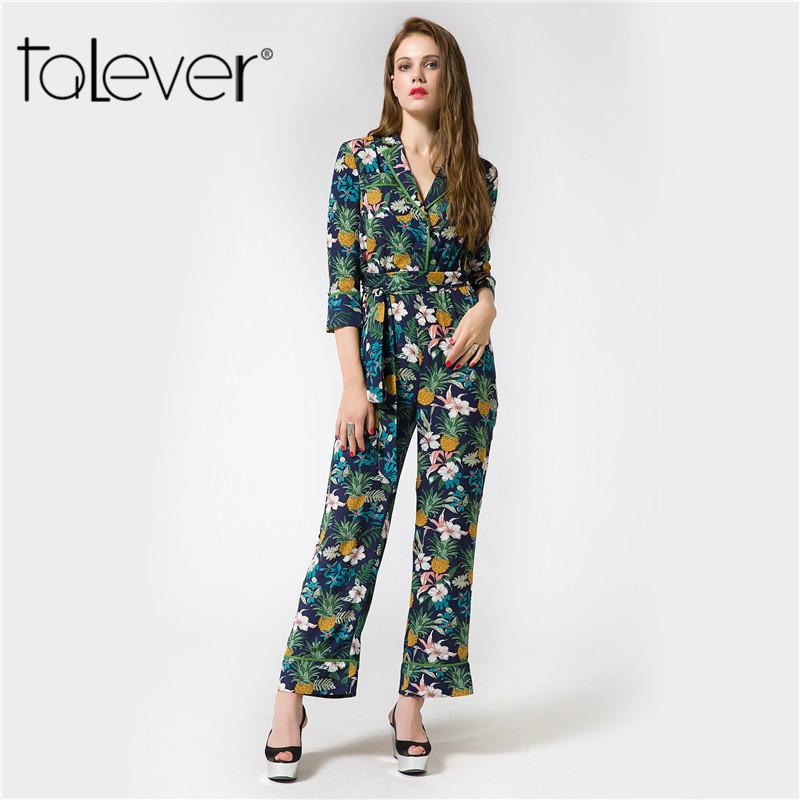 Talever 2018 Spring Elegant Womens Rompers Jumpsuit Casual Sashes Floral Print Bodysuit Long Sleeve Long Playsuits Plus Size