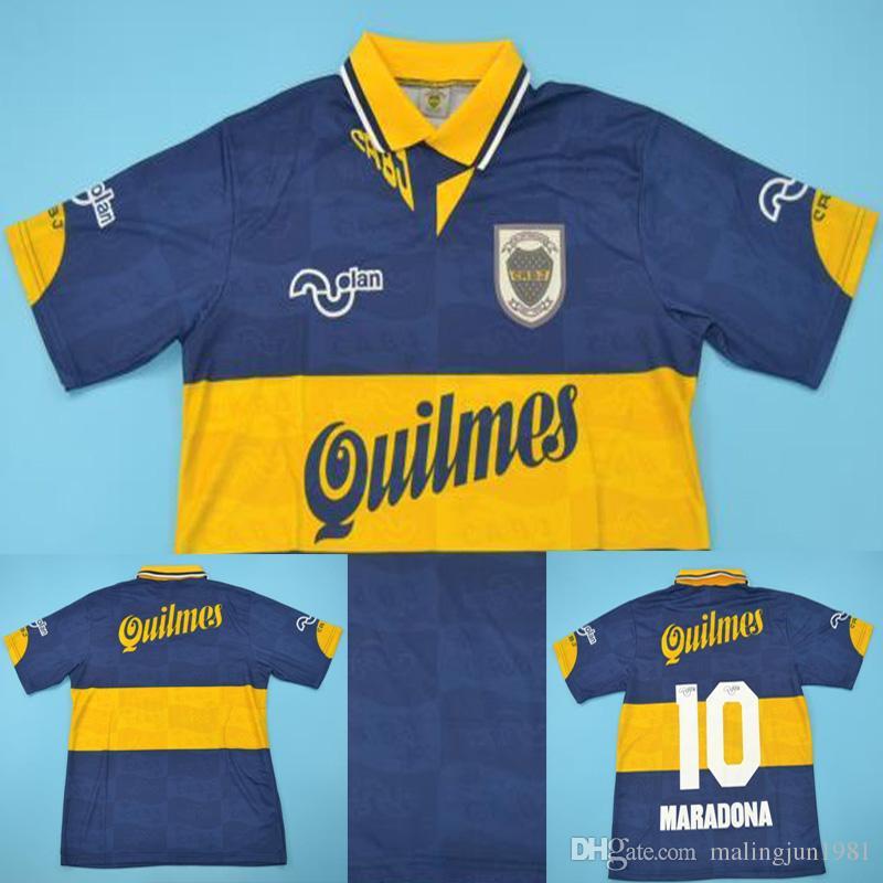 68edccb60d Compre 95 96 Boca Retro Camisa De Futebol Maradona Vintage Veron Caniggia  1995 1996 Calcio MAGLIA Camisas De Futebol Clássicas Maillot Camiseta De  Futbol De ...