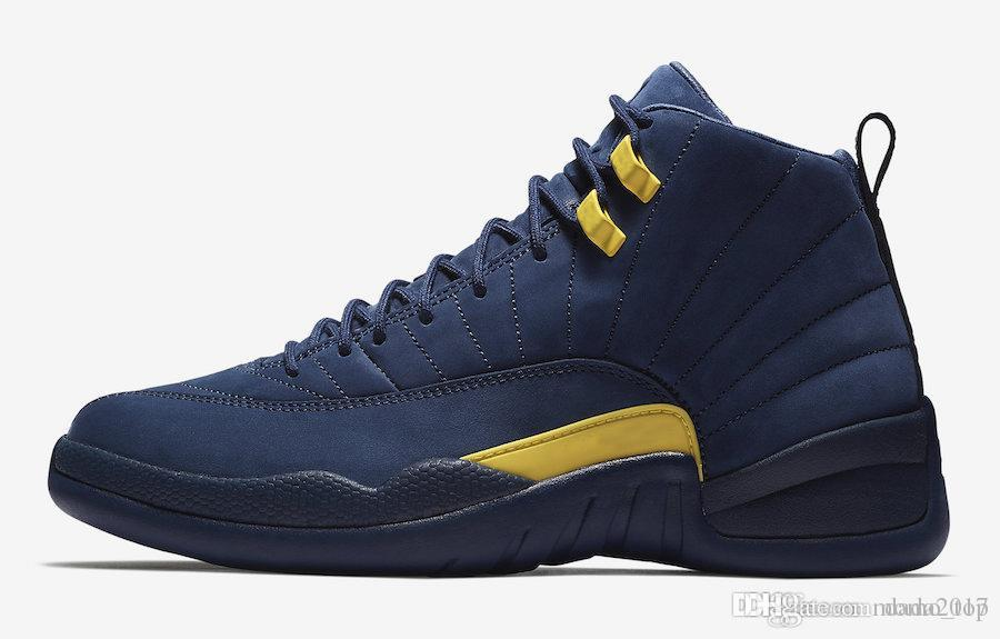 47c677213a97 2018 New Jumpman XII 12 Michigan Blue Yellow Basketball Shoes For High  Quality Mens Women Pink 12s Suede PSNY Sports Sneakers Size 36 47 Best  Basketball ...