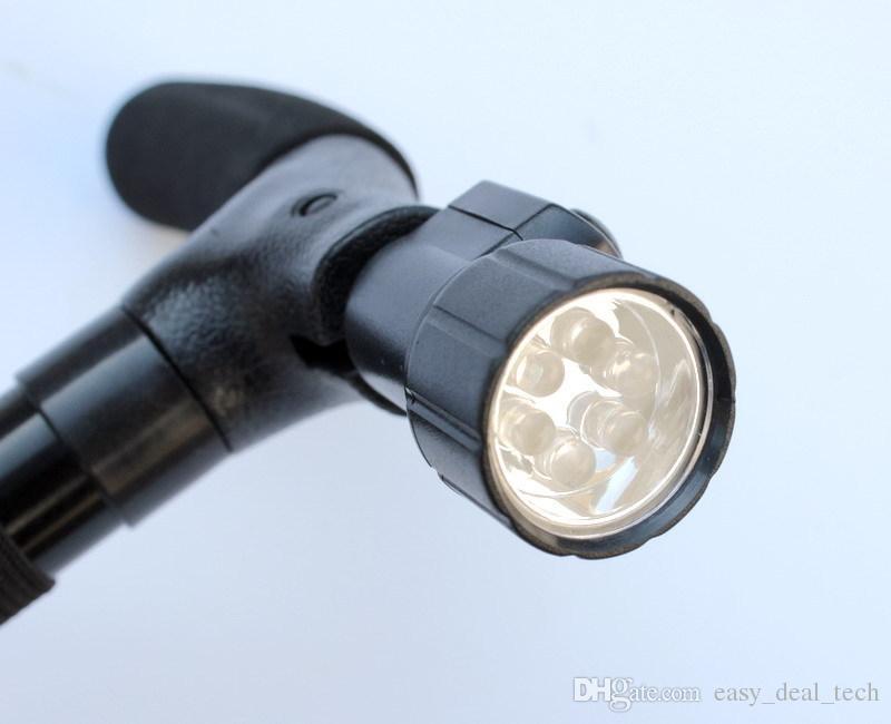Multifuncional 3 built-in Luzes LED Light-up de Segurança Dobrável Bengala Caminhante Lanterna Walker Luz Resistente Escalada Caminhadas Vara Q0557