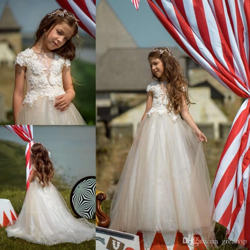 Flower Girl Dresses Lace Applique Beaded Short Sleeve Sequins Sweep Train  Plus Size Girls Kid s Pageant Dress Party Prom Gowns