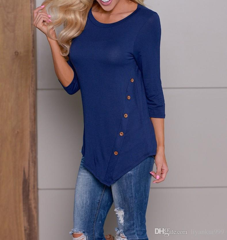 Femmes Boutons Chemises irrégulières col rond manches longues ourlet Boutons Chemises Automne Hiver manches longues Chemises Hauts-10 couleur S 6XL