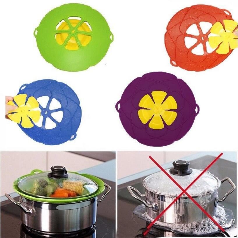 Silicone Boil Over Spill Lid Stopper Flower Cookware Parts Kitchen
